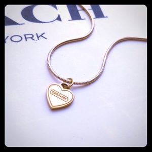 Coach Heart Charm Gold Plated Necklace New